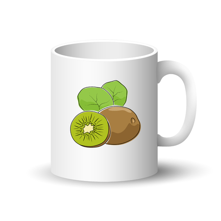 Cup isolated on a white background, front view on a mug with tropical fruit kiwifruit, vector illustration.