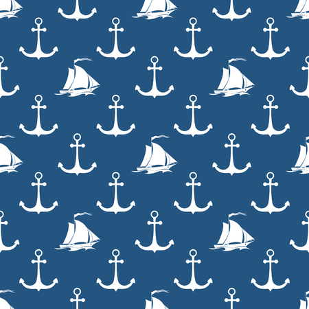 Seamless Maritime Pattern with Sailing Vessel and Anchor, Travel and Tourism Concept , Vector Illustration Vettoriali