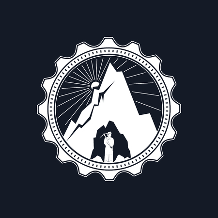 Miner in the Helmet is Holding Pickaxe in the Bowels of the Mountain on a Background of the Sunburst, Mine Shaft on a Black Background, Vector Illustration