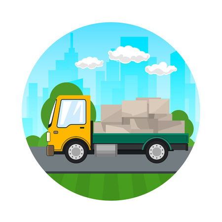 Small Truck with Boxes on the Background of the City, Transport Services and Logistics. Icon of Shipping and Freight of Goods.