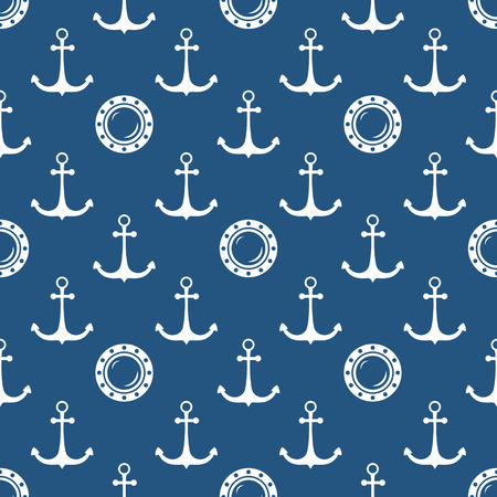 Seamless Maritime Pattern with Porthole and Anchor, Travel and Tourism Concept , Vector Illustration