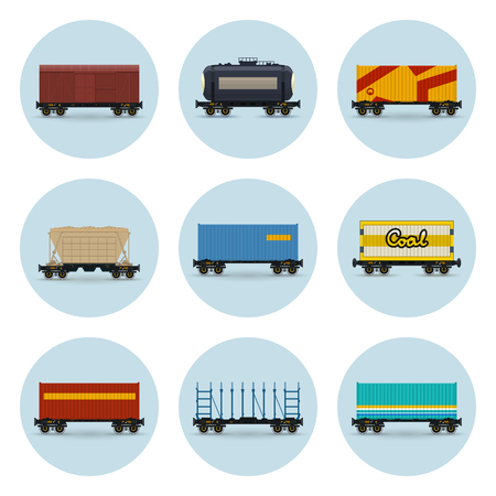 Set of Icons, Covered and Wagon for Coal, Container on Railroad Platform, Platform for Transportation of Bulk or Long Cargo and for Timber Transportation , Railway Tank Car and Hopper Car, Vector