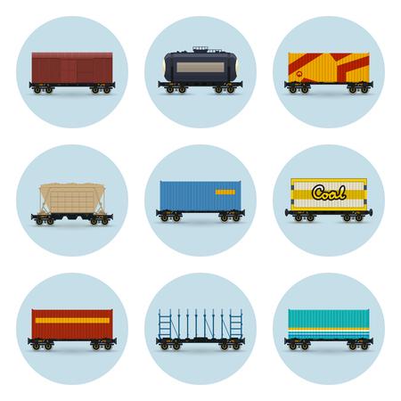 Set van pictogrammen, overdekte en wagen voor kolen, container op spoorwegplatform, platform voor vervoer van bulk- of lange lading en voor houttransport, spoorketelwagen en hopperwagen, Vector Vector Illustratie