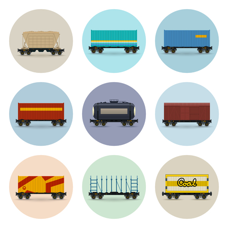 Set of Freight Railway Icons in multi-color circle.
