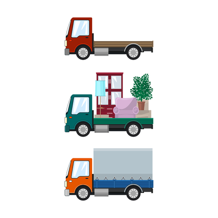 Set of Cargo Trucks Isolated, Red Lorry without Load , Car with Furniture, Small Closed Truck, Transport and Logistics, Delivery Services, Vector Illustration Vectores