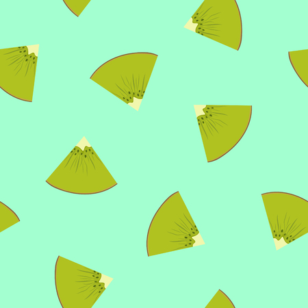 Seamless Pattern with a Slice of Kiwifruit on Green Background , Juicy Fresh Slice of Summer Fruit, Vector Illustration