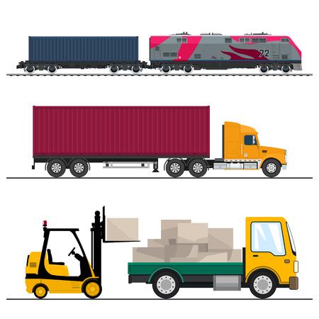 Set van goederenvervoer over land, vrachtwagen en kleine vrachtwagen met dozen en vorkheftruck, locomotief met vrachtcontainer, verzending en vracht van goederen, vectorillustratie Vector Illustratie