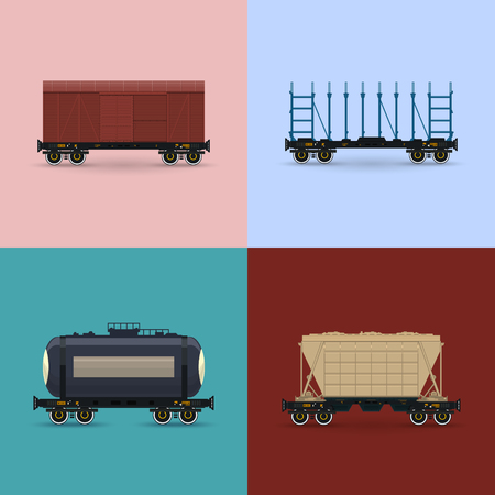 Covered Wagon, Platform for Transportation of Bulk or Long Cargo and for Timber Transportation , Railway Tank Car and Hopper Car, Freight Rail Transport, Vector Illustration Stock Illustratie
