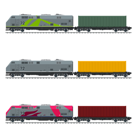 Three Types of Train, Locomotive with Cargo Container on Railroad Platform , Railway and Container Transport, Vector Illustration Stock Photo