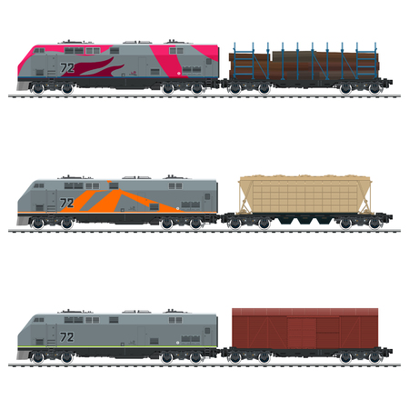 Locomotive with Closed Wagon, with Hopper Car and Railway Platform for Timber Transportation , Railway Freight Transportation, Vector Illustration