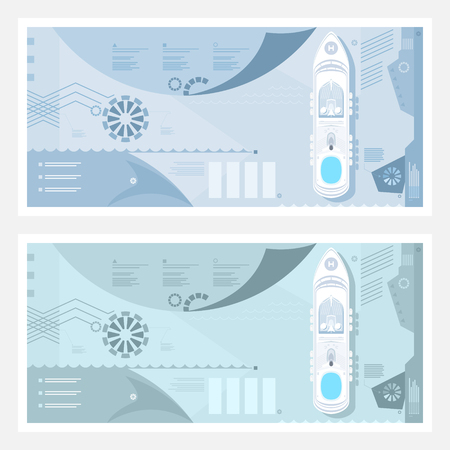 Two Kinds of Travel Banner , Cruise Ship at Sea, Passenger Transportation, Tourism Infographic Concept, Vector Illustration