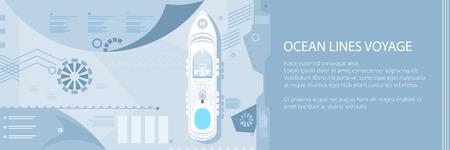 Travel Banner , Cruise Ship at Sea, Passenger Transportation, Tourism Infographic Concept, Vector Illustration Illustration