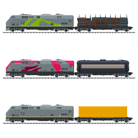 Locomotive with Yellow Cargo Container, with Railway Tank Car and Platform with Timber , Freight Transportation, Vector Illustration