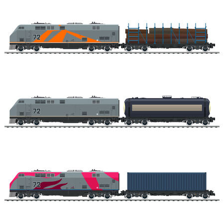 Locomotive with Blue Cargo Container, with Railway Tank Car and Platform with Timber , Freight Transportation, Vector Illustration Ilustração