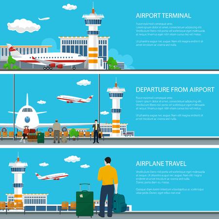 Ensemble de bannières d'aéroport, avion arrive et s'envole du terminal de l'aéroport, salle d'attente avec voyageurs et sacs à bagages, avion sur la piste et tour de contrôle, concept de voyage aérien, vecteur Vecteurs