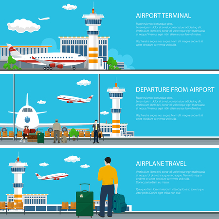 Set of Airport Banners, Airplane Arrives and Fly away from Airport Terminal , Waiting Room with Travelers and Luggage Bags, Plane on the Runway and Control Tower , Air Travel Concept, Vector Illustration