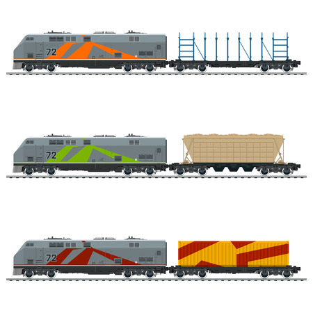Locomotive with Cargo Container, with Hopper Car and an Empty Platform for Transportation of Bulk or Long Cargo and for Timber Transportation , Vector Illustration