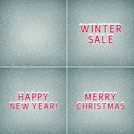Set of Holiday Winter Backgrounds ,Snow on the Letters Winter Sale Happy New Year and Merry Christmas, Snowfall , White Snowflakes on Gray Background, Vector Illustration Stok Fotoğraf - 114786322