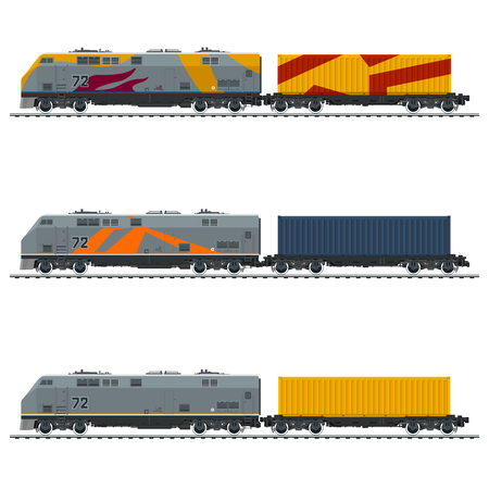 Types of Freight Train, Locomotive with Cargo Container on Railroad Platform , Railway and Container Transport, Vector Illustration