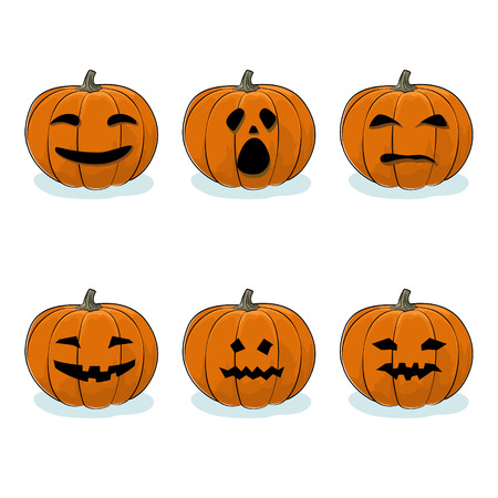 Set of Pumpkins, Jack-o-Lantern on White Background, Carved Scary Pumpkins, Halloween Holiday , Vector Illustration