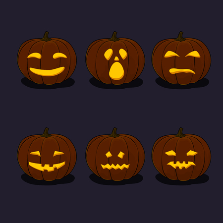 Set of Pumpkins, Jack-o-Lantern on Black Background, Carved Scary Pumpkins, Halloween Holiday , Vector Illustration  イラスト・ベクター素材