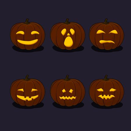 Set of Pumpkins, Jack-o-Lantern on Black Background, Carved Scary Pumpkins, Halloween Holiday , Vector Illustration Illustration