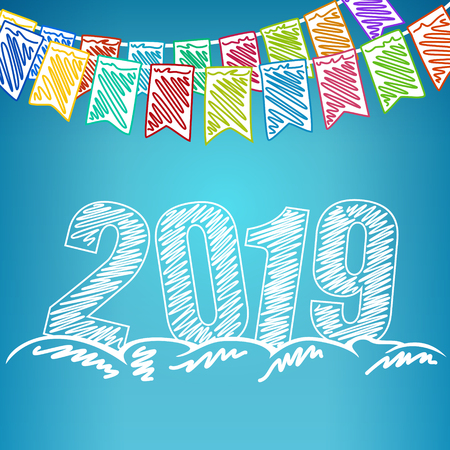 Happy New Year 2019, Holiday Colorful Multicolored Bunting Flags and the Year 2019 in the Drifts of Snow , Drawing Crayons or Markers, Winter Background, Vector Illustration