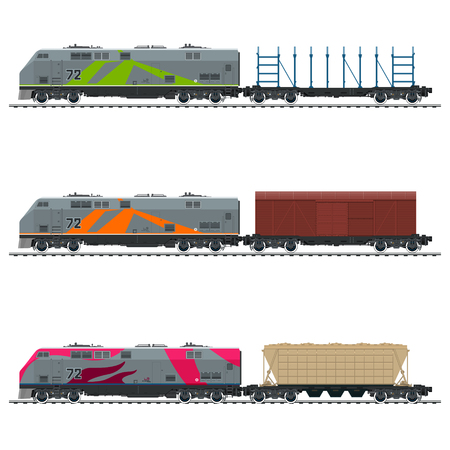 Railway Locomotive with Closed Wagon, with an Empty Platform for Transportation of Bulk or Long Cargo and for Timber Transportation and Hopper Car , Vector Illustration