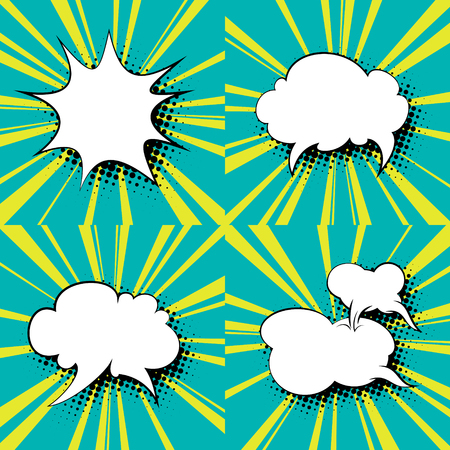 Set of Speech Bubbles, Green Background with Yellow Suns Rays and Speech Bubbles , Vector Illustration