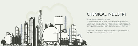 Industrial Chemical Plant Horizontal Banner , Refinery Processing of Natural Resources, Chemical Industry, Poster Brochure Flyer Design, Vector Illustration