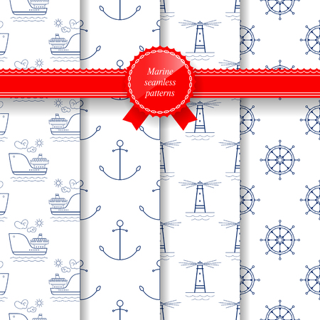 Set of Seamless Marine Summer Pattern, Lighthouse and Ships Wheel, Ship and Anchor, Travel and Tourism Pattern, Vector Illustration