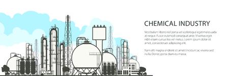 Przemysł chemiczny poziomy baner, przemysłowa fabryka chemiczna, przetwarzanie rafineryjne zasobów naturalnych, projekt ulotki plakatowej, ilustracja wektorowa