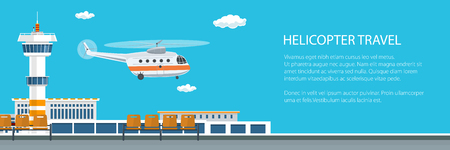 Helicopter Takes Off from the Airport Banner , Control Tower and Helicopter , Travel and Tourism Concept , Air Transportations, Vector Illustration