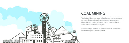 Coal Mine Banner, Complex Industrial Facilities with Spoil Tip and with Rail Cars, Coal Industry, Poster Brochure Flyer Design, Vector Illustration Illustration