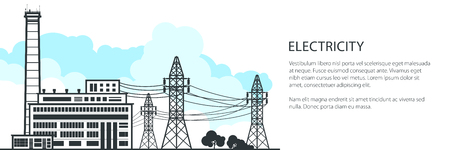 Banner of Electric Power Transmission, Power Station and High Voltage Power Lines Supplies Electricity and Text, Vector Illustration