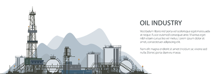 Oil Drilling Rig Banner, Oilfield , Drilling Oil or Natural Gas Rig with Outbuildings and Tanks and Cisterns, Poster Brochure Flyer Design, Vector Illustration Illustration