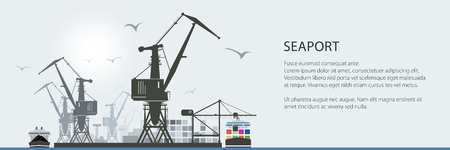 Cargo Sea Port Banner, Unloading of Cargo Containers from the Container Carrier, Cranes and Vessels in Dock , Vector Illustration