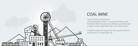 Coal Mining Banner, Complex Industrial Facilities with Spoil Tip and with Rail Cars, Coal Industry, Poster Brochure Flyer Design, Vector Illustration Illustration
