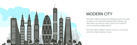 Modern Big City with Buildings and Skyscraper Banner , Architecture Megapolis, City Financial Center, Vector Illustration