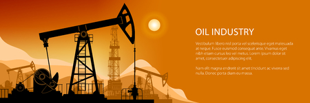 Oil Industry Banner, Silhouette Pumpjack on a Background of Mountains at Sunset