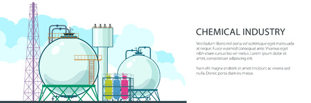 Banner of Chemical Plant , Refinery Processing of Natural Resources, Industrial Pipes and Text , Petrochemical Industry, Vector Illustration Illustration