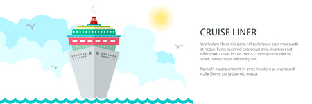 Cruise Ship Banner , Liner at Sea and Text, Marine Travel Concept , Vector Illustration