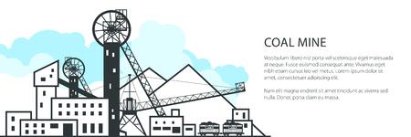 Minenbanner, komplexe Industrieanlagen mit Verderbnis und mit Schienenfahrzeugen, Kohleindustrie, Posterbroschüre Flyer Design, Vektorillustration