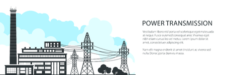 Banner of Electric Power Transmission, Power Station and High Voltage Power Lines Supplies Electricity to City, Vector Illustration Ilustração