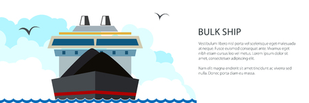 Front View of the Dry Cargo Ship and Text, Industrial Marine Vessel is Transporting Coal and Ore, International Freight Transportation Banner, Vector Illustration
