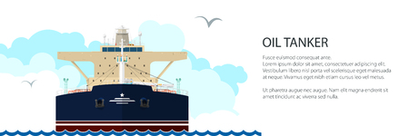 Front View of the Vessel Oil Tanker and Text, International Freight Transportation Banner, Ship for the Transportation of Goods, Vector Illustration Vettoriali