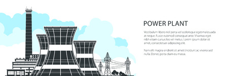 Silhouette Nuclear Plant Banner , Thermal Power Station, Nuclear Reactors and High Voltage Power Lines, Vector Illustration