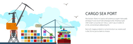 Cargo Seaport Banner, Unloading Containers from a Ship at the Docks with Cargo Crane, International Freight Transportation, Vector Illustration Illustration