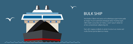 Front View of the Dry Cargo Ship at Sea and Text, Industrial Marine Vessel is Transporting Coal and Ore, International Freight Transportation Banner, Vector Illustration