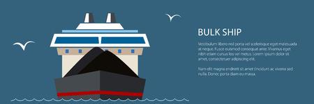 Vorderansicht des Trockenfrachtschiffs auf See und Text, industrielles Marineschiff transportiert Kohle und Erz, internationale Frachttransportbanner, Vektorillustration
